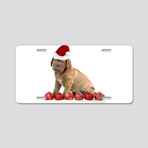 Christmas Dogue de Bordeaux puppy Aluminum License