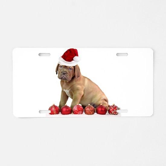 Christmas Dogue de Bordeaux puppy Aluminum License
