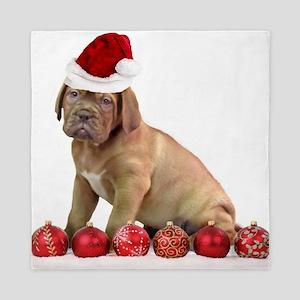 Christmas Dogue de Bordeaux puppy Queen Duvet
