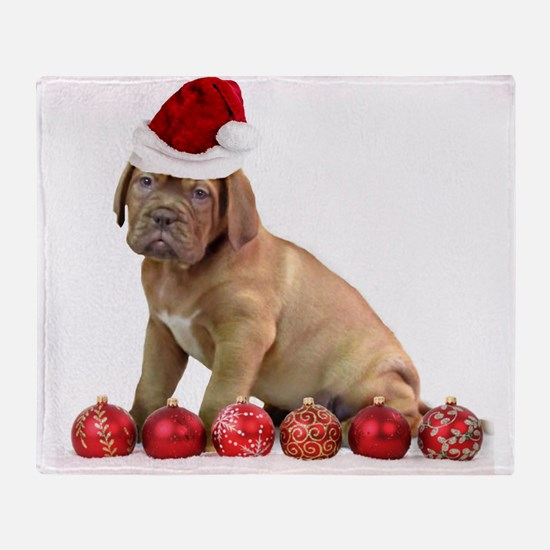 Christmas Dogue de Bordeaux puppy Throw Blanket