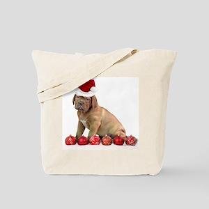 Christmas Dogue de Bordeaux puppy Tote Bag