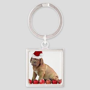 Christmas Dogue de Bordeaux puppy Keychains
