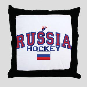 RU Russia/Rossiya Hockey Throw Pillow