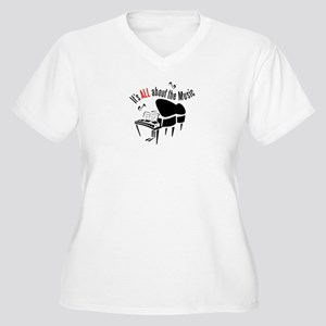 All About the Music Women's Plus Size V-Neck T-Shi