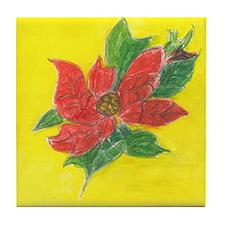 Poinsettia Tile Coaster