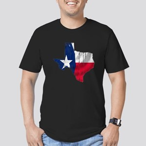Texas Shape Flag Distressed Men's Fitted T-Shirt (