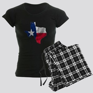 Texas Shape Flag Distressed Women's Dark Pajamas