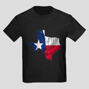 Texas Shape Flag Distressed Kids Dark T-Shirt