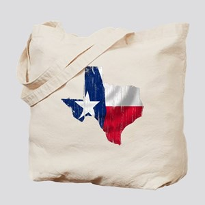 Texas Shape Flag Distressed Tote Bag