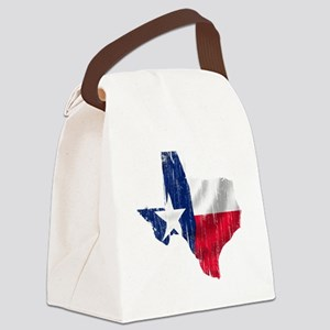 Texas Shape Flag Distressed Canvas Lunch Bag