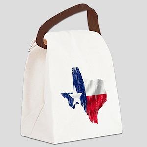 Texas Shape Flag Distressed Canvas Lunch Bag