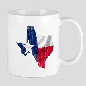 Texas Shape Flag Distressed Mug