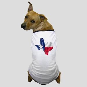 Texas Shape Flag Distressed Dog T-Shirt