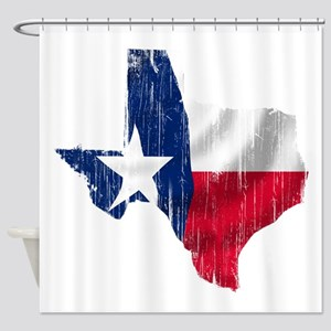 Texas Shape Flag Distressed Shower Curtain