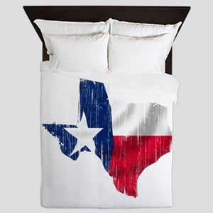 Texas Shape Flag Distressed Queen Duvet