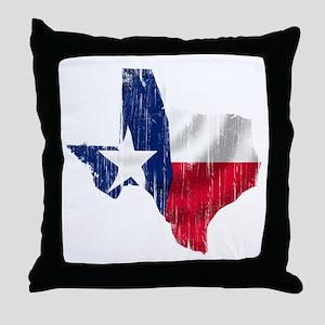 Texas Shape Flag Distressed Throw Pillow