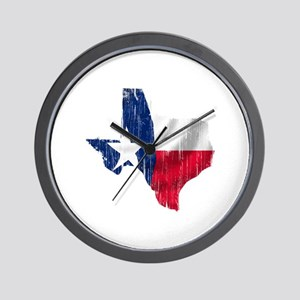 Texas Shape Flag Distressed Wall Clock