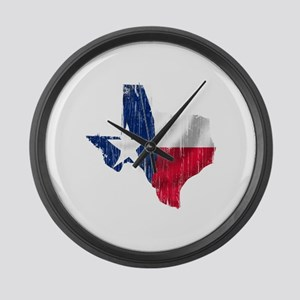 Texas Shape Flag Distressed Large Wall Clock