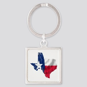 Texas Shape Flag Distressed Square Keychain
