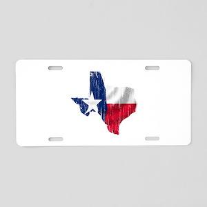 Texas Shape Flag Distressed Aluminum License Plate