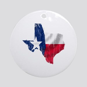Texas Shape Flag Distressed Ornament (Round)