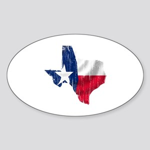 Texas Shape Flag Distressed Sticker (Oval)