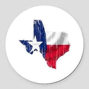 Texas Shape Flag Distressed Round Car Magnet