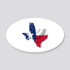 Texas Shape Flag Distressed Oval Car Magnet