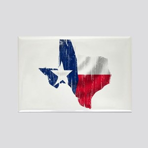 Texas Shape Flag Distressed Rectangle Magnet