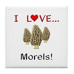 I Love Morels Tile Coaster