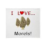 I Love Morels Throw Blanket