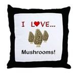 I Love Mushrooms Throw Pillow