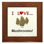 I Love Mushrooms Framed Tile
