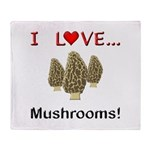 I Love Mushrooms Throw Blanket