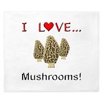I Love Mushrooms King Duvet