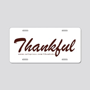 Thankful Aluminum License Plate