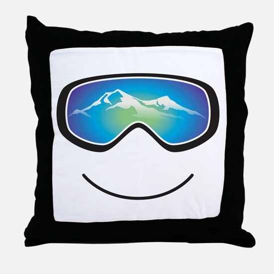Happy Skier/Boarder Throw Pillow
