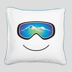 Happy Skier/Boarder Square Canvas Pillow