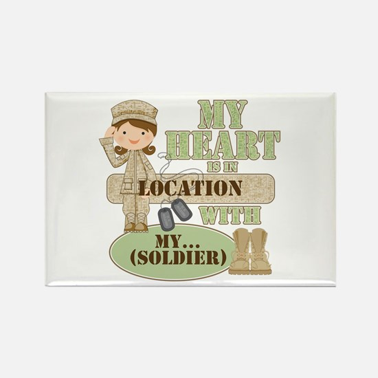 Heart With Soldier Rectangle Magnet