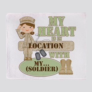 Heart With Soldier Throw Blanket
