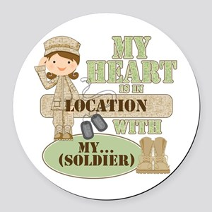 Heart With Soldier Round Car Magnet