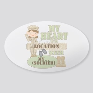 Heart With Soldier Sticker (Oval)