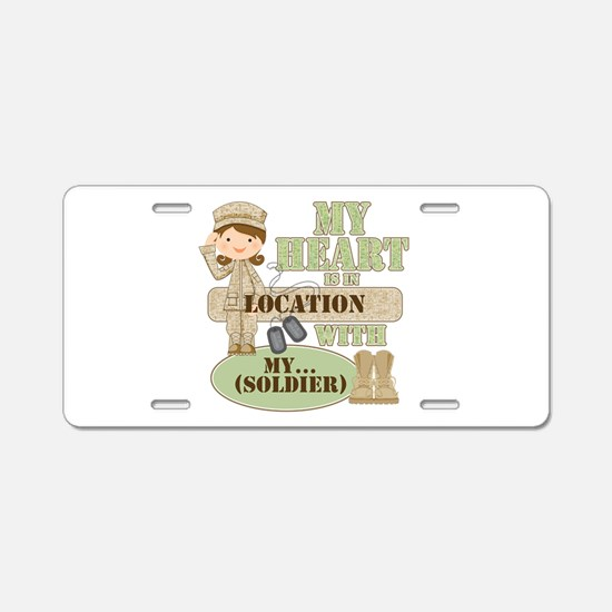 Heart With Soldier Aluminum License Plate
