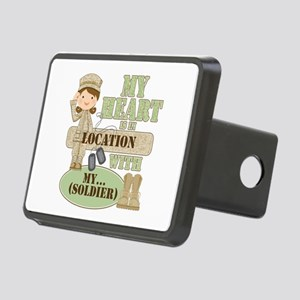 Heart With Soldier Rectangular Hitch Cover