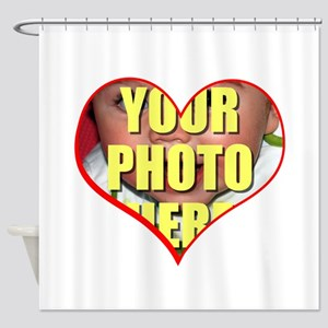 Custom Heart Photo Shower Curtain
