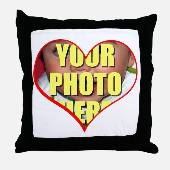 Custom Heart Photo Throw Pillow