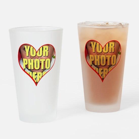 Custom Heart Photo Drinking Glass