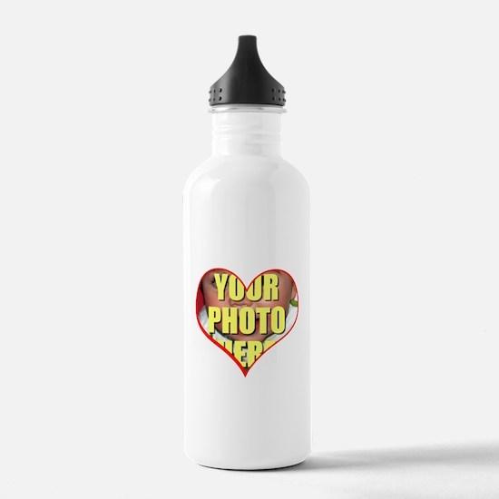 Custom Heart Photo Water Bottle
