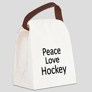 Peace,Love,Hockey Canvas Lunch Bag
