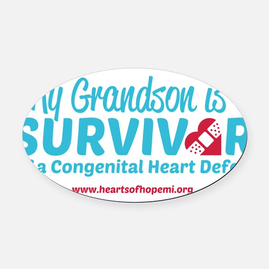 CHD Survivor - Grandson Oval Car Magnet